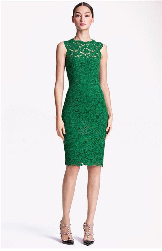 Green/Black/White Lace Formal Dress, Lace Evening Dress, Short Formal
