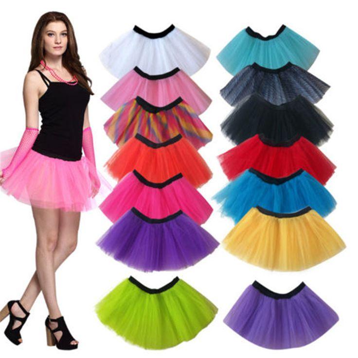 Retail Sale Cheap Women Neon UV Flo Tutu Tulle Hem Fancy  Party 3 Layers of Net Plus Colours Skirt  #Affiliate