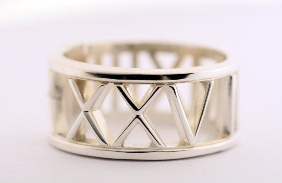 Any date,Important number, or longitude -latitude,Roman Numeral Ring in Sterling Silver,Number ring, Ring with Date,Important Date ring