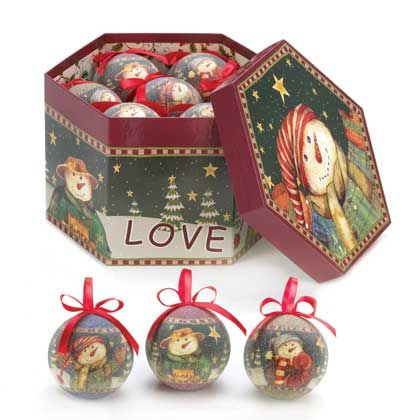 10015321 www.tiffgifts.com  This lovely octagon box opens up to reveal a treasure trove of beautiful ornaments for your holiday tree,  and each ornament features a snowman dressed for winter fun! Complete with coats, scarves and hats, they're ready to brave the cold weather in their winter wonderland.