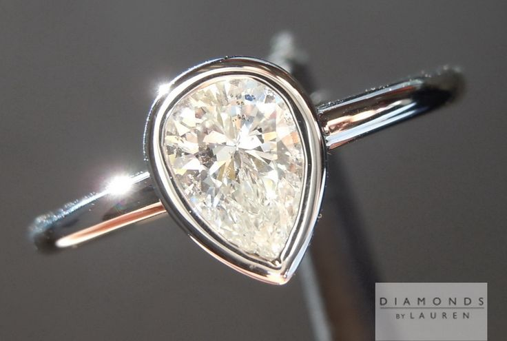 pear shape 0.54ct G SI2 Bezel Set Ring GIA diamond ring for sale $1,995 #amazing…