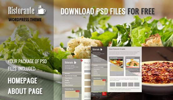 This free package includes Homepage and Subpage #PSD files of creative Ristorante #WordPress Theme. Download and have fun with them in your web project!