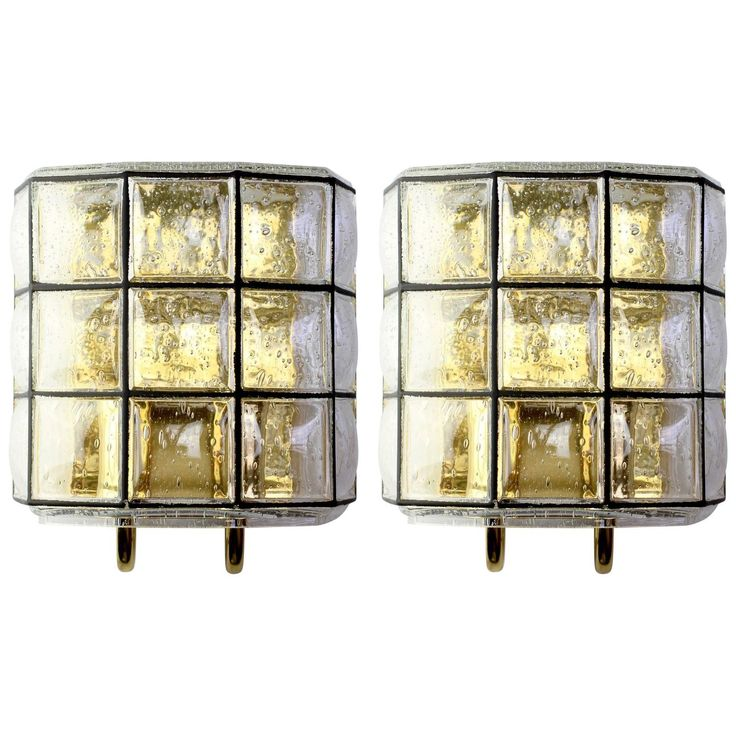 Large Pair of Iron and Bubble Glass Wall Lights by Glashütte Limburg | From a…