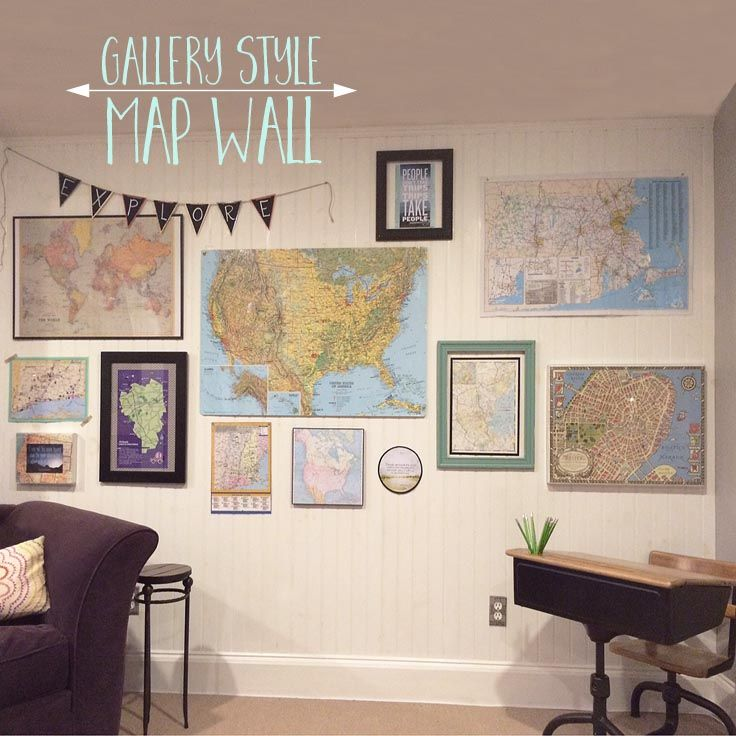 Gallery style wall with maps
