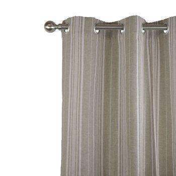 Ce rideau en lin naturel imprimé de rayures blanches apportera beaucoup d'allure et d'élégance à votre intérieur. Sa grande tenue et son tombé changera facilement l'aspect de votre pièce. Existe à oeillets, ruflette, nouettes et plis flamands