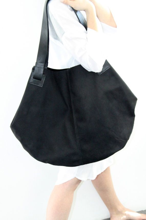 Black Leather Tote Bag Soft Leather Bag Big by LadyBirdesign