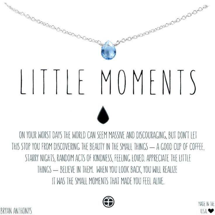 Bryan Anthonys Little Moments Dainty Gemstone Meaningful Necklace. Comes in Gold and Silver and crystal, aqua, or orange topaz gemstones. Perfect dainty necklace for layering.