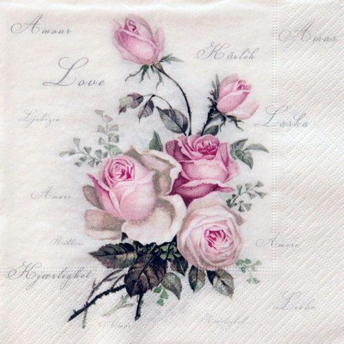 One paper napkin vintage rose decoupage by Napkinsfordecoupage, $0.99