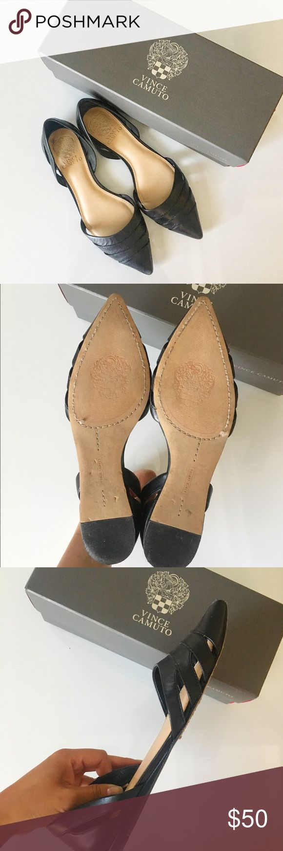 Vince Camuto: Halette Style Flats Preloved flats, leather, see pictures, listed 6/20. Comes with box. Normal wear and tear on the heel edge. Vince camuto - Halette style. Vince Camuto Shoes Flats & Loafers