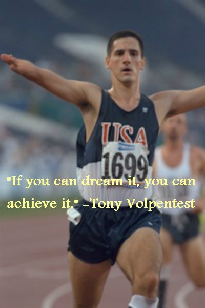 Tony Volpentest was born with no hands and feet, but he's a nominee to the Olympic Hall of Fame Class 2012. How did he do it? Find out from my interview with him: http://www.blogtalkradio.com/loveyourpath/2012/07/26/the-fastest-man-in-the-world-tony-volpentest