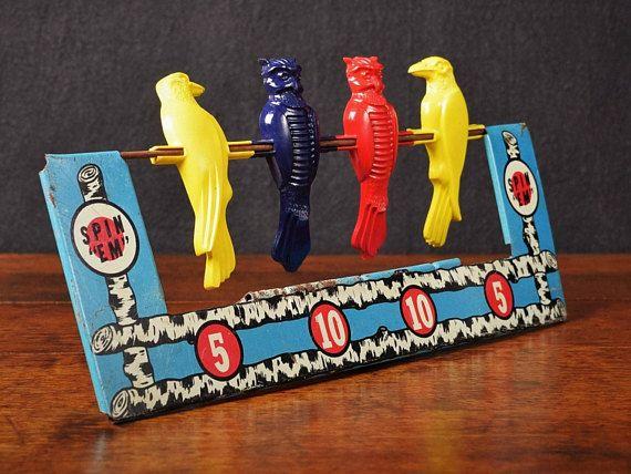 Vintage Wyandotte Spinning Bird Target Practice Toy Cap Gun Pistol Shooting Gallery Game Spin Em Owl Crows Metal Tin Lithograph USA by Misinterpreted on etsy