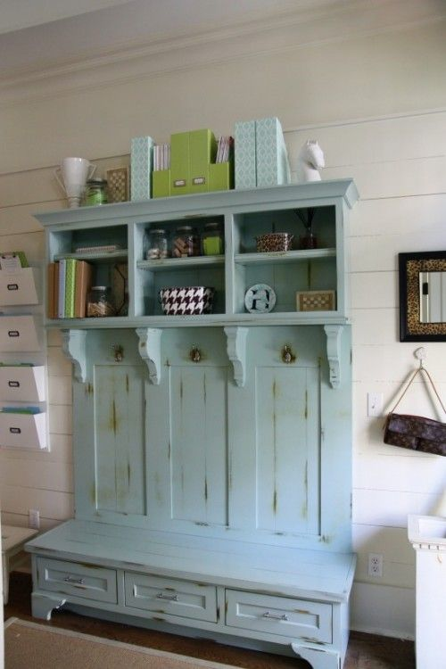 Genius! bench + shutters+ crown molding peices+ and a shoe shelf = instant mudroom!