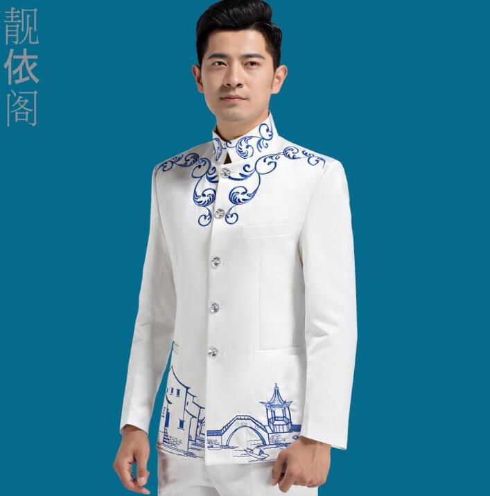 Blazer men formal dress latest coat chinese tunic suit men costume homme masculino marriage wedding suits for men's choral white #Affiliate
