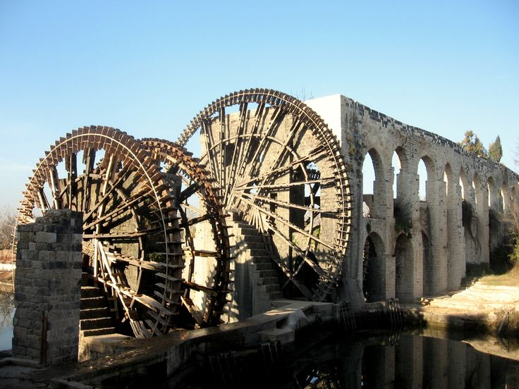 Hama, Syria.  Famous for its ancient wooden waterwheels in the Orontes River.