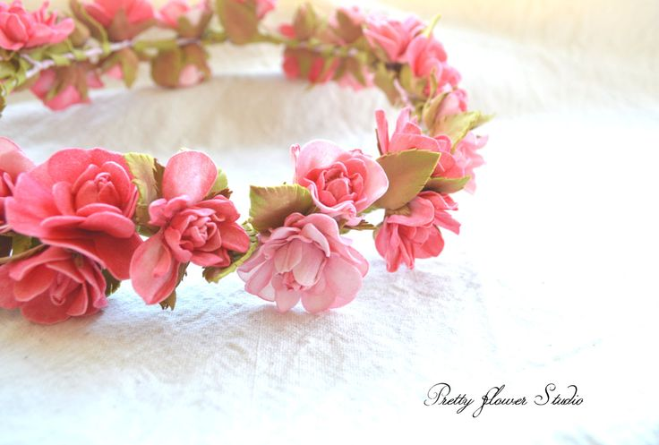 Flower Crown, Wedding, Bridal Headpiece,Light Pink Wreath, Pink Bridal Floral Crown, Bridal Hair Accessories, Pink and Red Wedding Headband. - pinned by pin4etsy.com