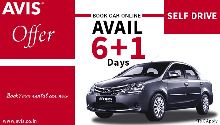 """How about saving a bit of money while travelling? Oh yes! AVIS India presents a new 6+1 offer. Book for 7 days and get billed for just 6 days!! Hurray!!!! It is available for all self-driven options. Now say, """"I'll drive"""" and save money!!"""