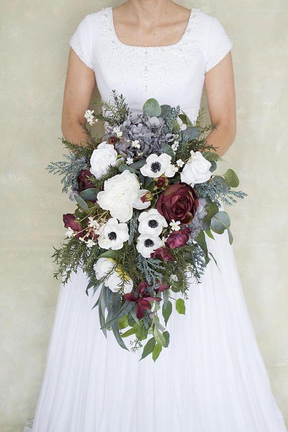 Cascade wedding bouquets, spring wedding bouquet, greenery wedding bouquet