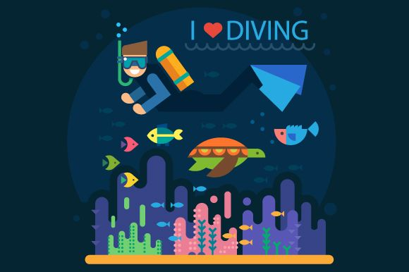Summer. Diving by TastyVector on @creativemarket