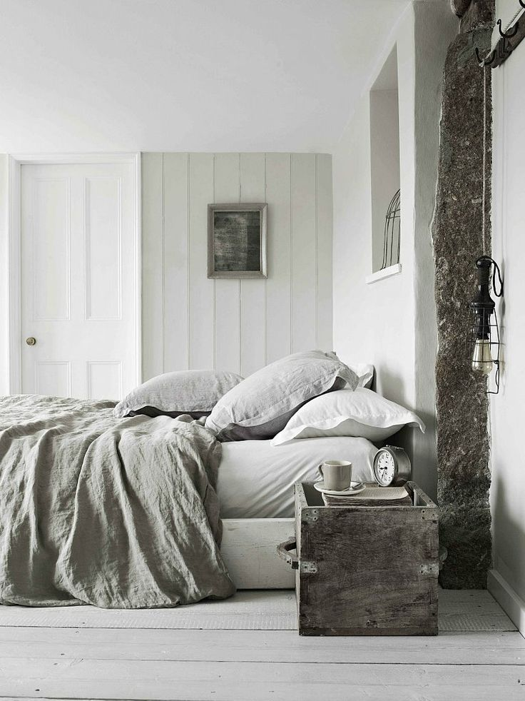 rustic bedroom interior in beige and gray greige inspiration for the home i love this weathered wood and natural linens