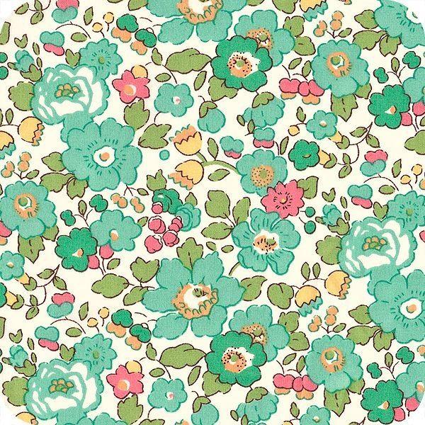 coupon tissu motif LIBERTY vert bleu turquoise betsy