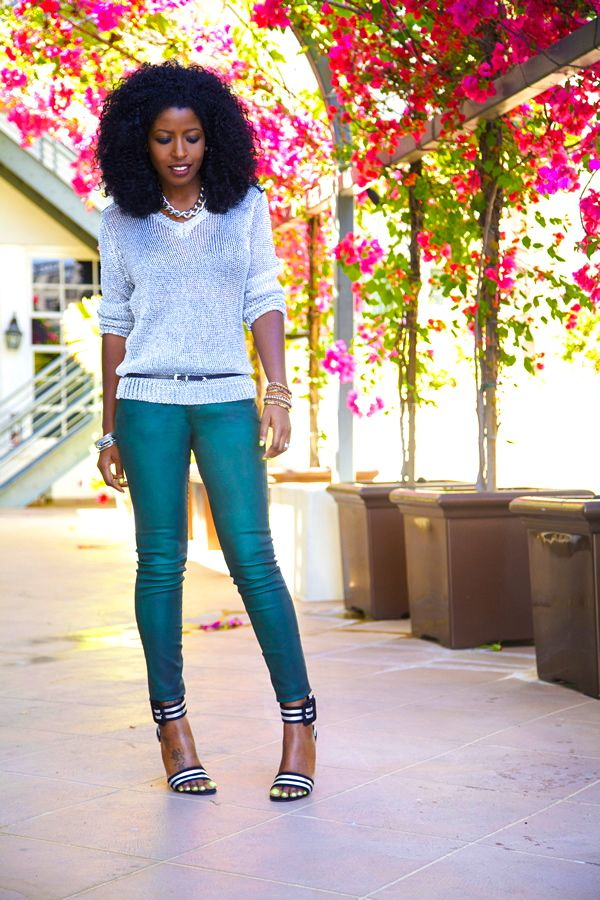 Metallic Sweater + Coated Skinny Jeans