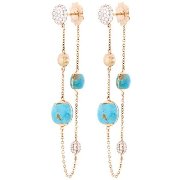Roberto Coin Diamond turquoise chain drop earrings (12,125 BAM) ❤ liked on Polyvore featuring jewelry, earrings, roberto coin earrings, chain earrings, 18k diamond earrings, turquoise drop earrings and turquoise jewellery