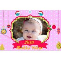 Yeni yıl temalı kız çocuklar için hazırlanmış foto magnet.