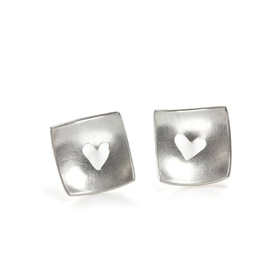 Heart Cutout Studs sterling silver