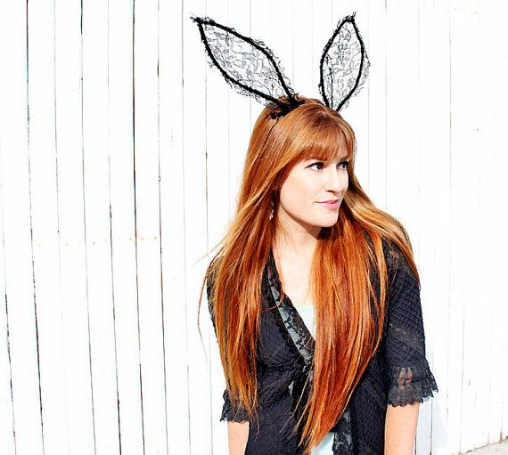 Honey Bunny- Lace rabbit ear headband (black)
