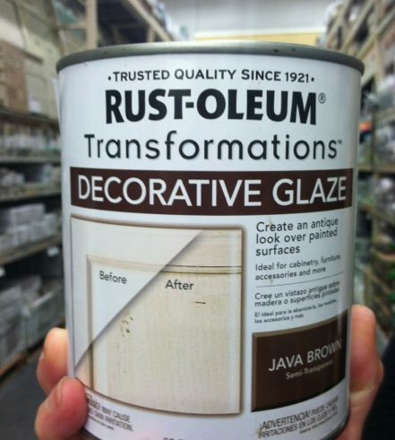 Rust-Oleum decorative glaze in Java Brown.  My new favorite product for antiquing furniture. You can work with it for a long time to get the look you want.