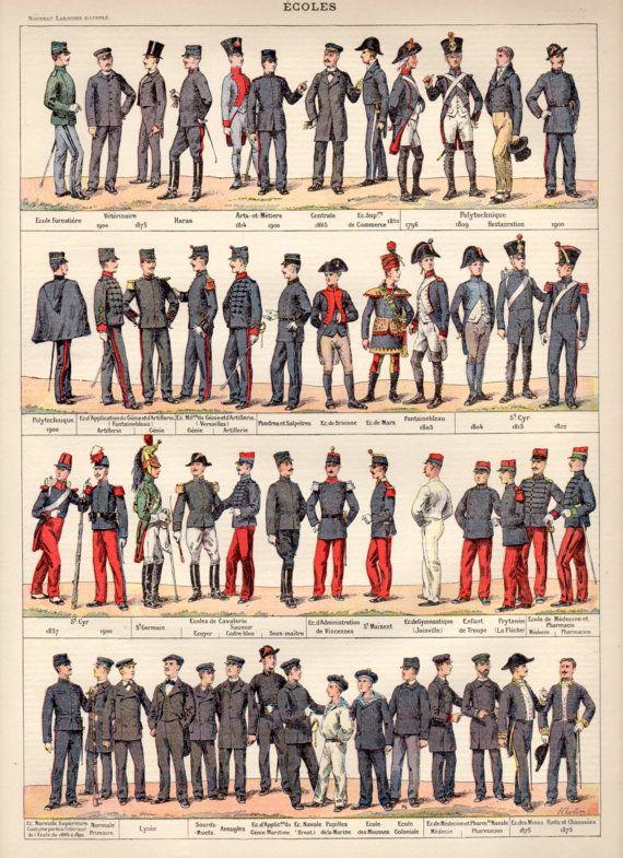 1897 schooluniformen antieke Print, Vintage lithografie, militaire Uniform af te drukken, kleding illustratie, Fashion 1800 Poster, cavalerie