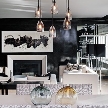 Suzie: Haus Interior   Contemporary Open Floor Plan With Glossy Black  Lacquer Walls, Mirrored .