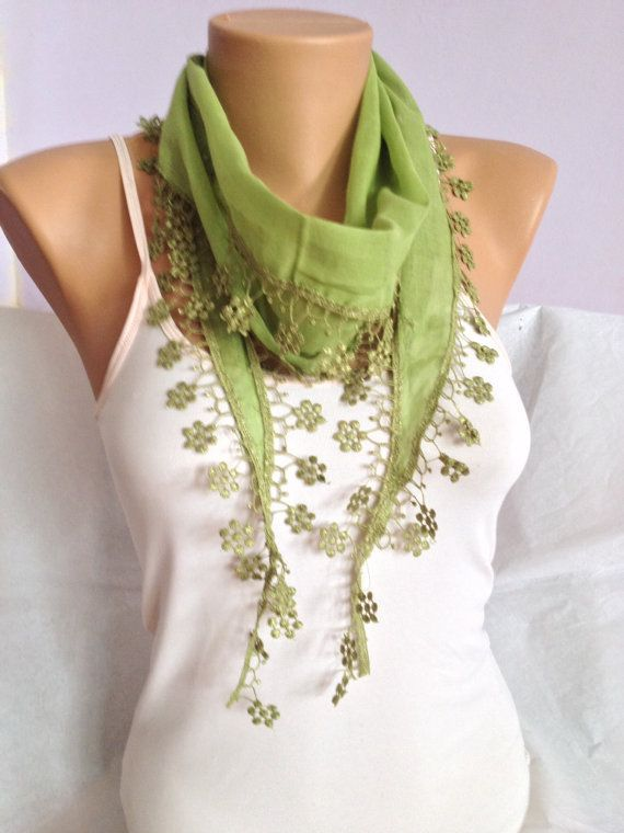 Green Floral Lace Scarf Pistachio Green Lace Scarf $15.50 by MaxiJoy