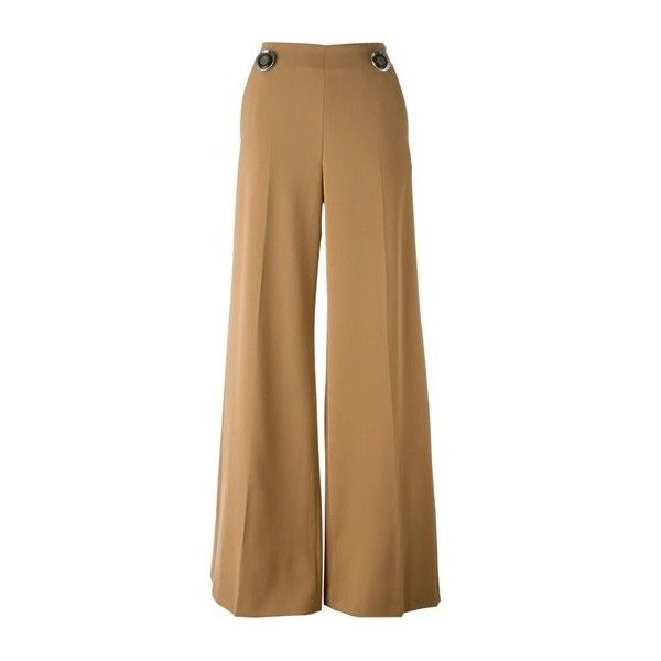 STELLA MC CARTNEY 'Etty' Trousers ($742) ❤ liked on Polyvore featuring pants, beige, high rise pants, wool trousers, high rise wide leg pants, side zipper pants and wide-leg pants