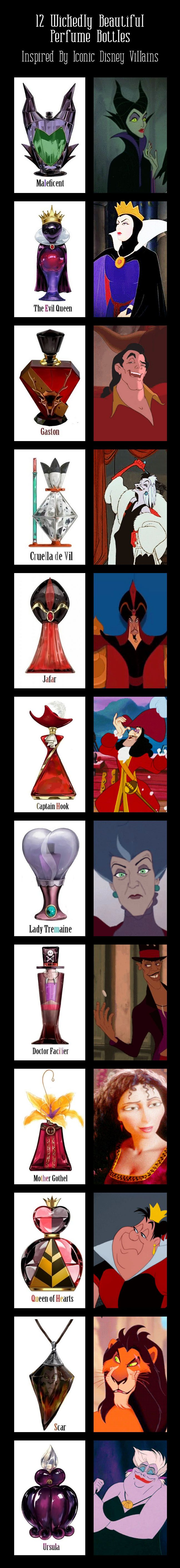 12 Wickedly Beautiful Perfume Bottles Inspired By Iconic Disney Villains  --  I want them all.