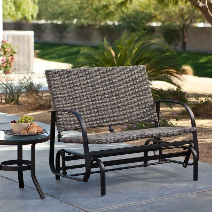 Have to have it. Coral Coast Beachwood Wicker Outdoor Glider Loveseat - $299.98 @hayneedle