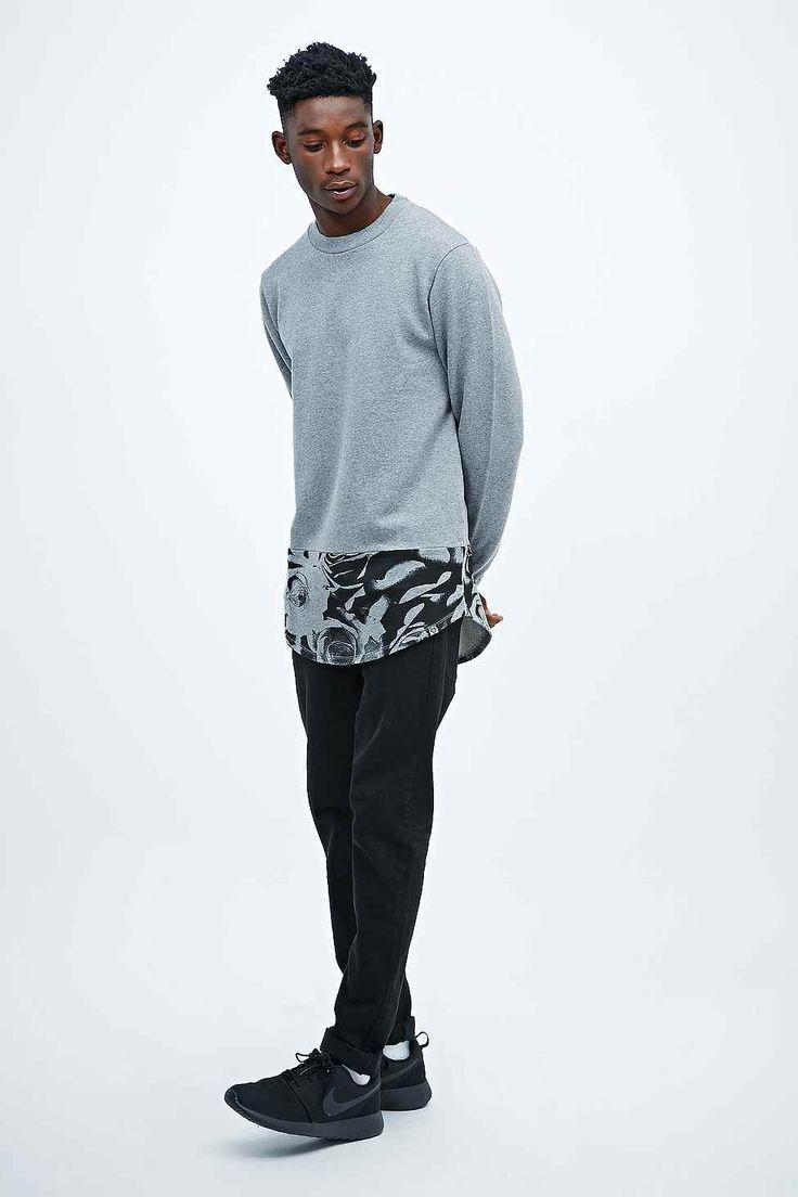 "Worland Black – Sweatshirt ""Kenny"" mit Rosendesign in Grau"