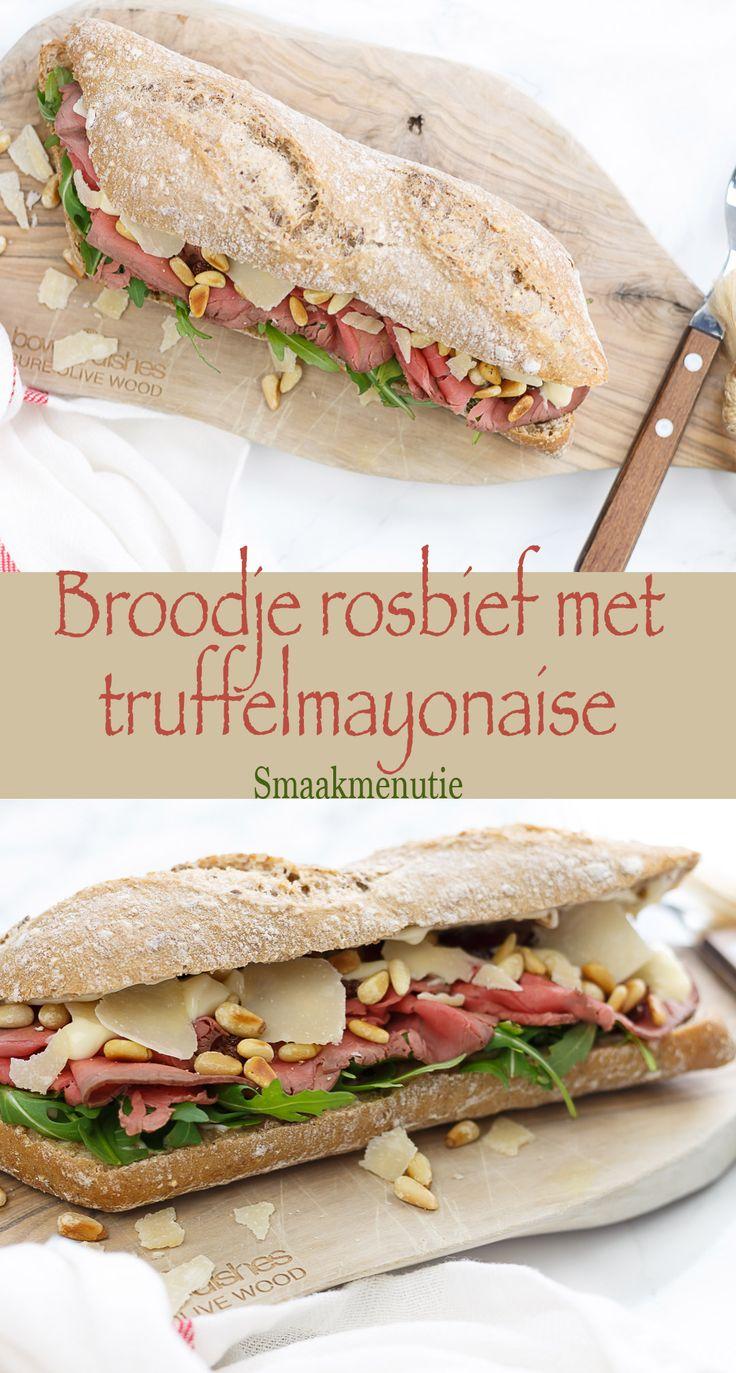 Broodje rosbief met truffelmayonaise #recept #recipe #sandwich #lunch