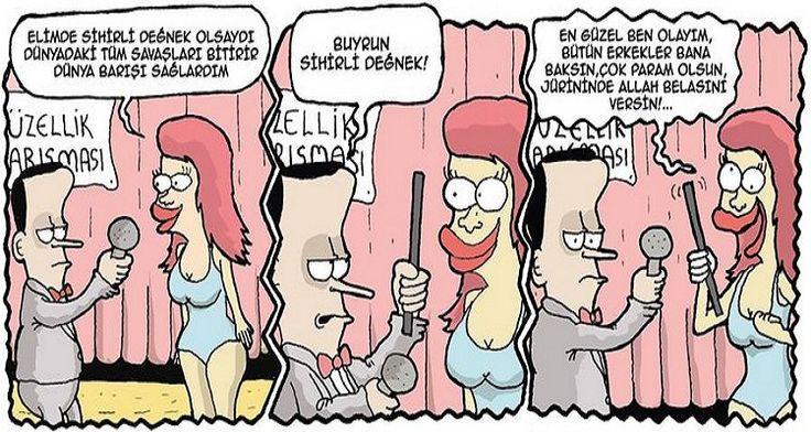 Güzellik Kraliçesi Karikatürü Okan Nasuhoğlu