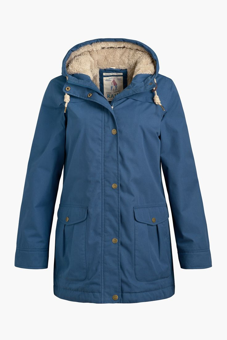 Cosy, Seasalt raincoat, inspired by heritage outerwear. In a cotton rich fabric, with fleece lining and two way zip. Waterproof, windproof and breathable.