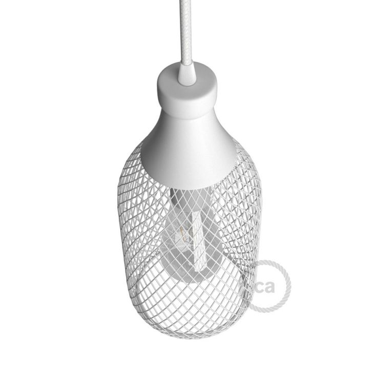 Bottle-shaped naked light bulb cage lampshade Jéroboam white colored metal