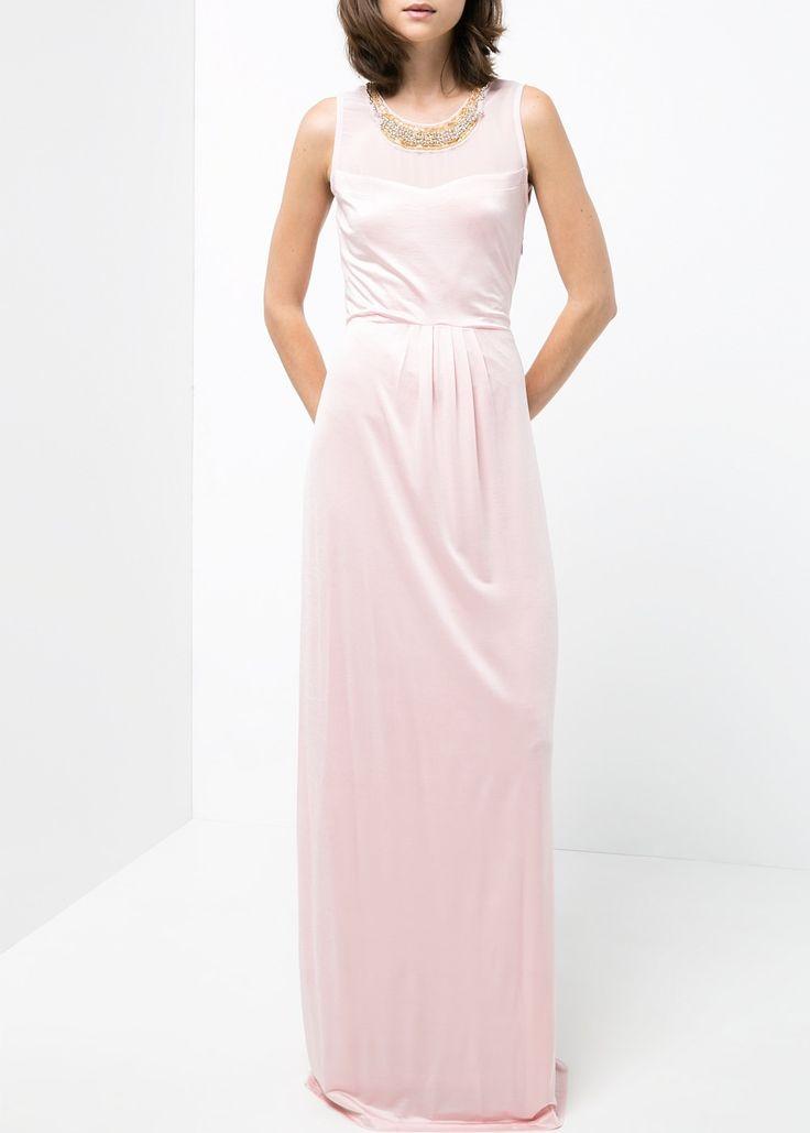 Robe longue rose pastel