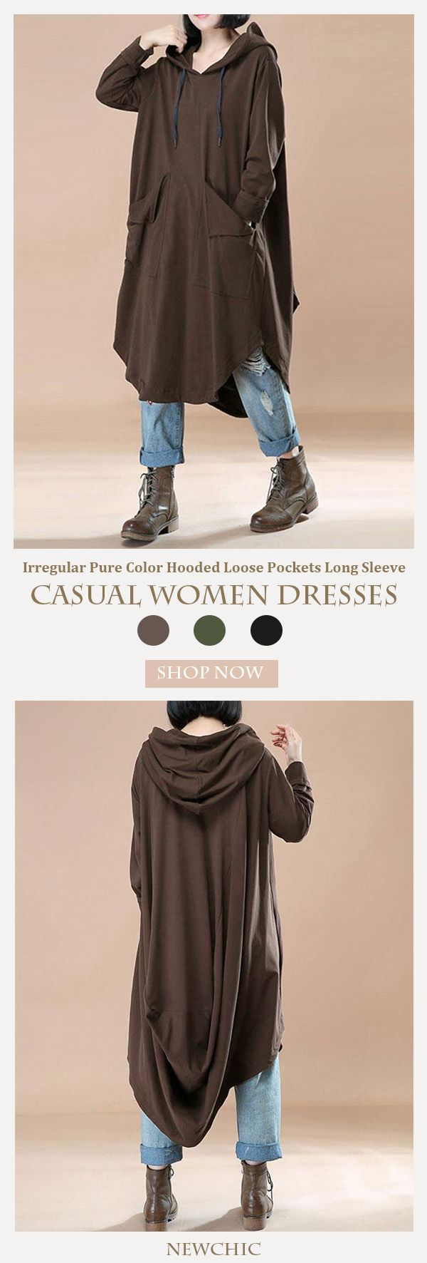 [Newchic Online Shopping] 45%OFF Casual Irregular Pure Color Hooded Loose Pockets Long Sleeve Women Dresses