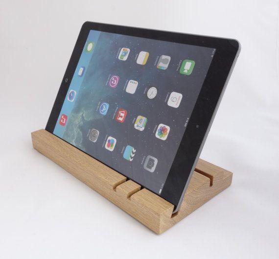 iPad stand/organizer  oak Great Gift by WoodAndGadget on Etsy