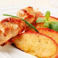 Brochettes van kip met appel met marinade met citroen en balsamicoazijn
