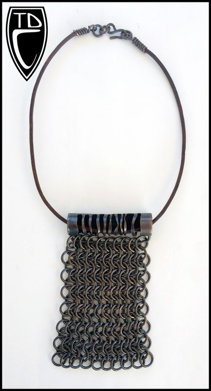 Todd Conover Chain Mail Necklace, 2014, copper, leather