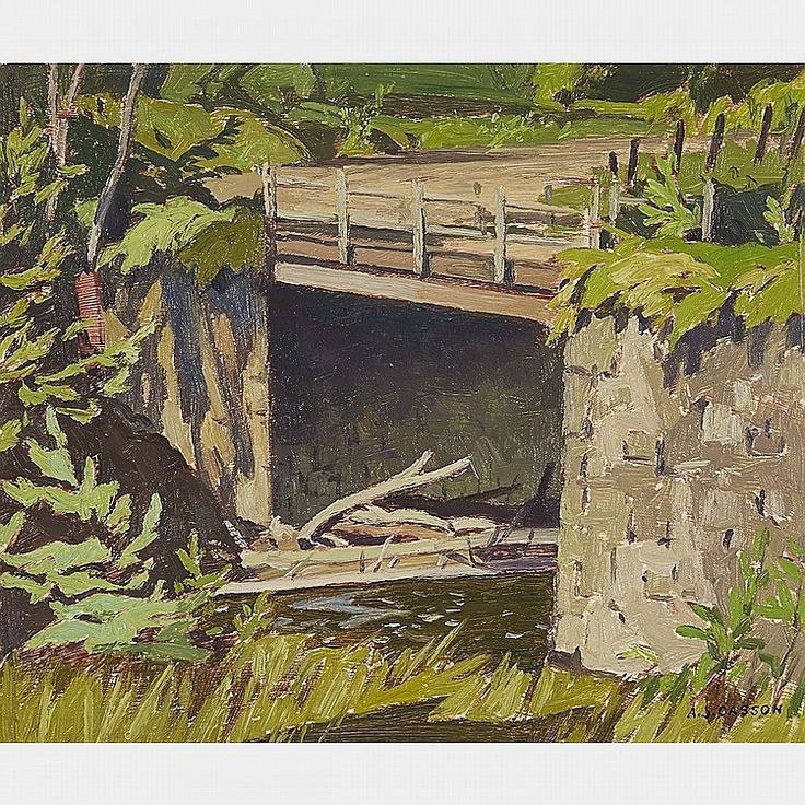 A.J. Casson - Stone Bridge Near Myers Cave Oil 9.5 x 11 on board (1957)