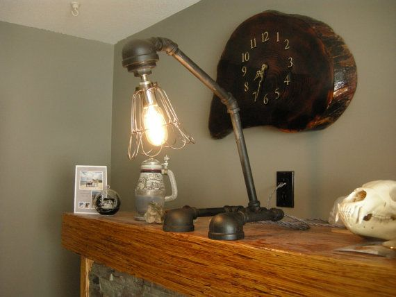 sold Steam Punk shelf lamp by Woodchoppersfurnitur on Etsy view it at www.woodchopperrepurposedfurniture.weebly.com