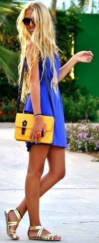 blue + yellowColors Combos, Summer Looks, Summer Outfit, Style, Cobalt Blue, Long Hair, Royal Blue, The Dresses, Gold Shoes