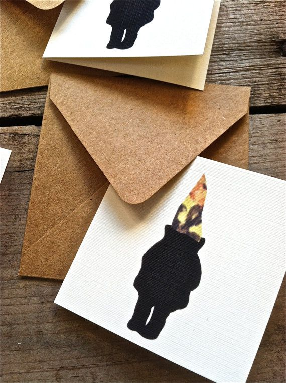 Mini Silhouette Gnome Blank Greeting Cards